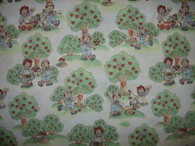Raggedy Ann and Andy green trees cotton fabric by the yard
