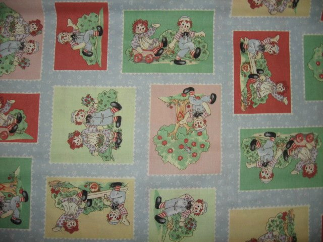 Raggedy Ann Andy flowers I love you 4 inch squares  cotton fabric by the yard