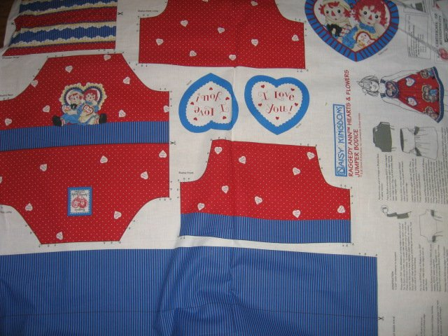 Image 1 of Raggedy Ann hearts flowers Jumper to sew  cotton fabric