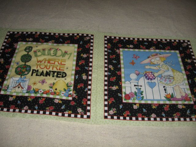 Mary Engelbreit bloom where you're planted set 2 cotton pillow panels