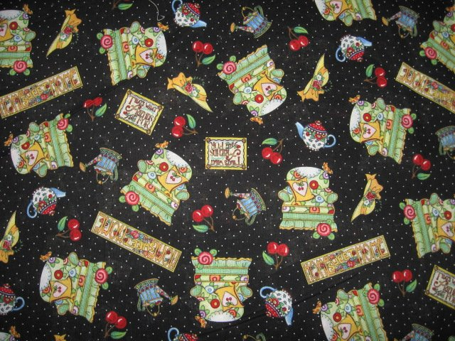 Mary Engelbreit home sweet home chair hat cherries cotton fabric by yard
