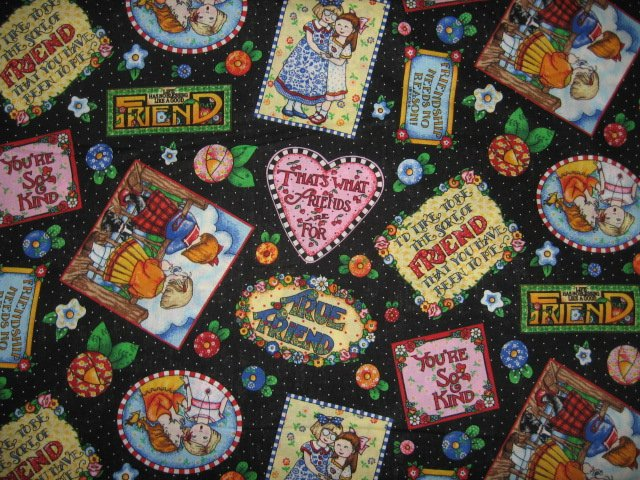 Mary Engelbreit friendship sayings  hearts cotton Fabric by the yard