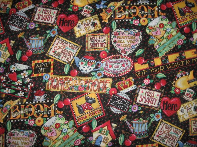 Mary Engelbreit sayings too cute ain't you something Fabric by the yard
