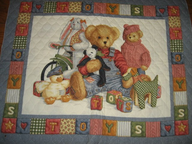 Blue Jean Teddy Bear friends toys blocks Crib Quilt Fabric Panel to sew