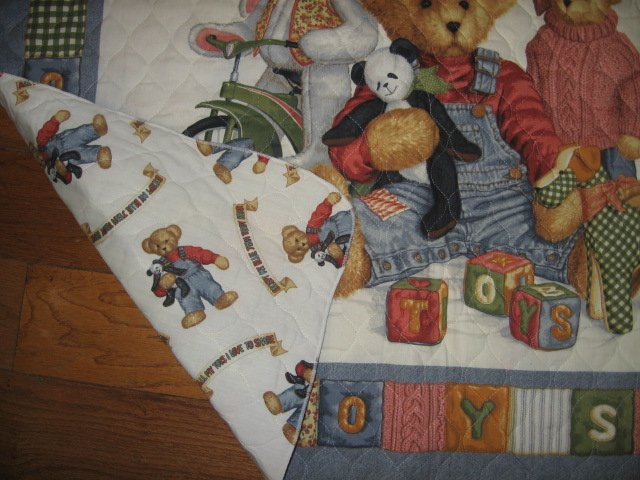 Image 1 of Blue Jean Teddy Bear friends toys blocks Crib Quilt Fabric Panel to sew