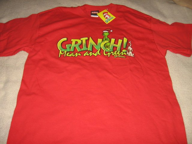 Dr Seuss mean green Grinch licensed large t shirt new with tags