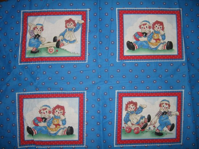 Raggedy Ann and Andy panels set of four wagon flowers
