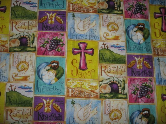 Religious collage redeemer savior cross lord king kings fabric 31 in by 44 inch