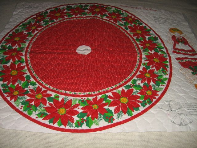 Christmas Tree Skirt and Angel Ornament 35 inch Diameter