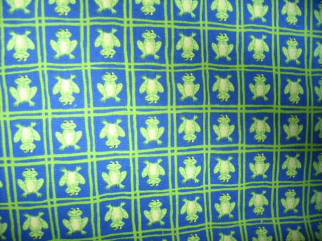 frog on blue squares cotton fabric by the yard 44 inch wide