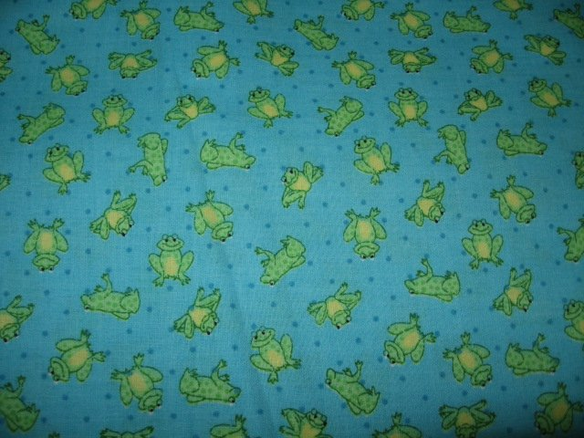 frog on blue green background cotton fabric one piece 44 by 54 inch