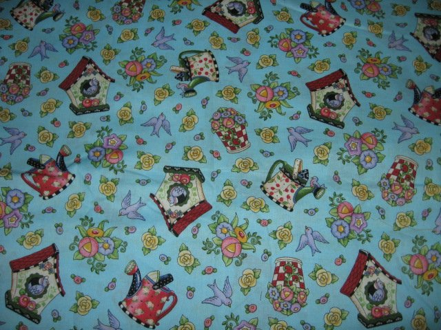 Mary Engelbreit birdhouse watering can flowers cotton fabric by the yard