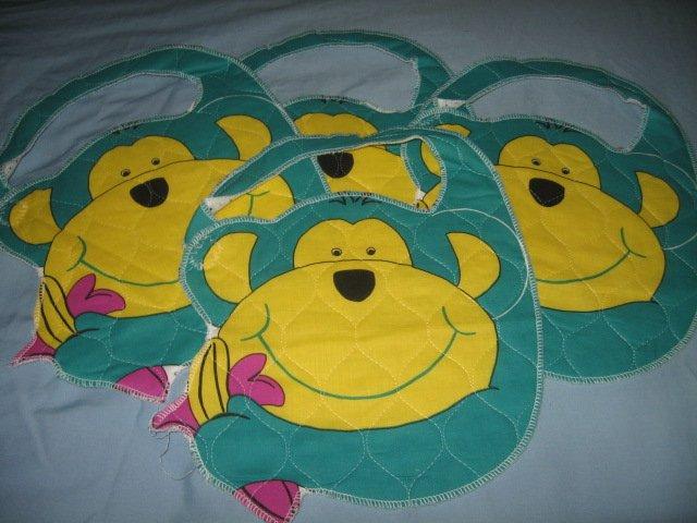 bib child monkey velcro on strap set of four
