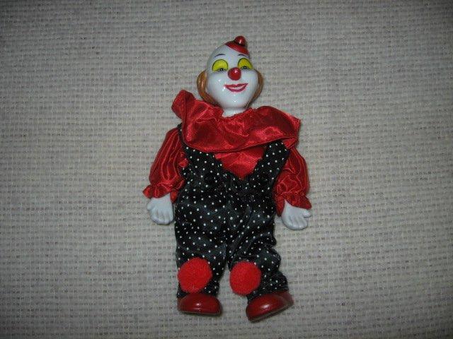 clown ceramic parts red black silk clothes 8 inch