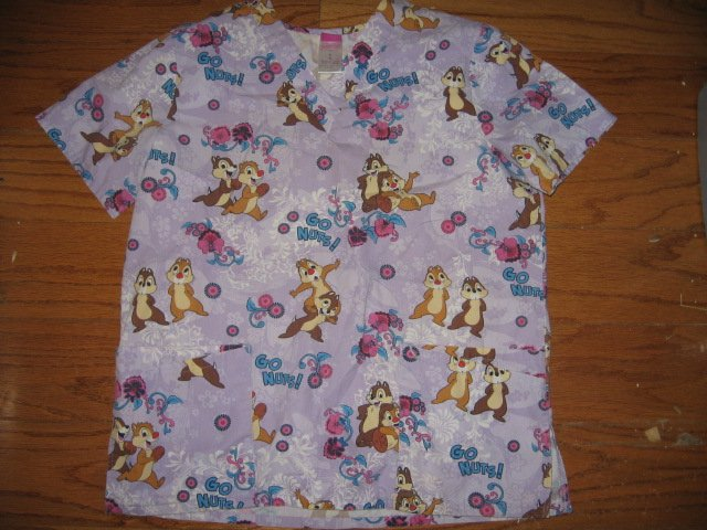 Medical gown Disney chipmunk go nuts size M like new with tag