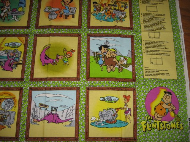 Flintstones Family Life characters soft Book Fabric Panel to sew vintage