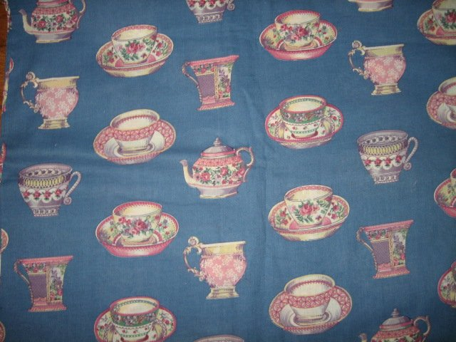 Dishes cups teapot creamers Blue  Fabric by the yard