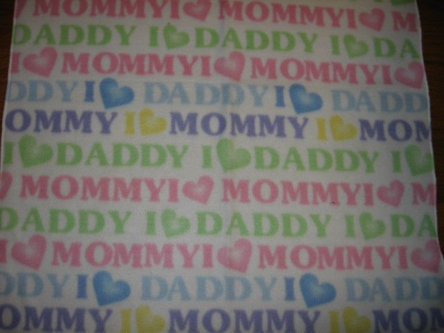 I love Mommy and Daddy pastel baby fleece blanket