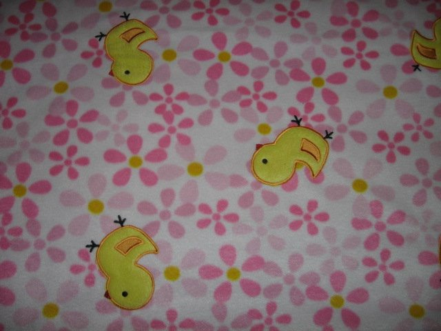 baby chicken pink fleece bed blanket 48 inches by 58 inches