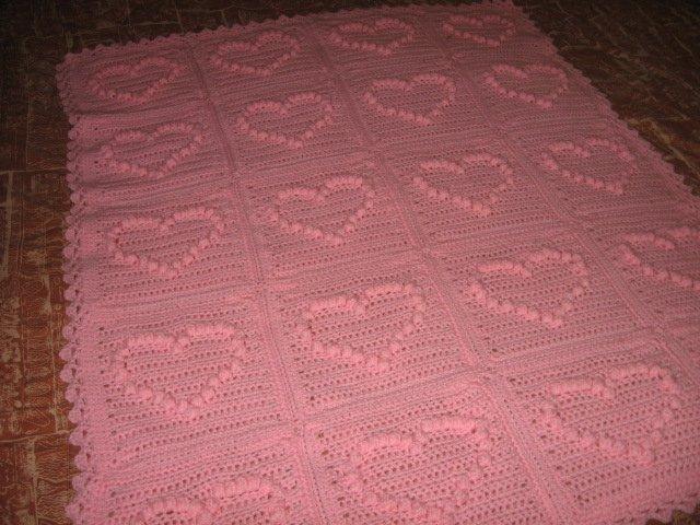 child love blanket handmade pink yarn