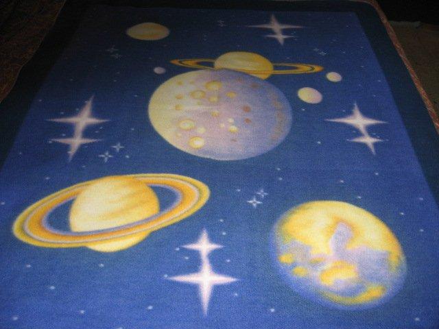 Universe Planets  stars blue Fleece Blanket Rare