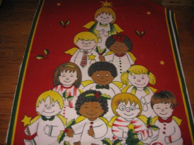 children multi national Christmas tree fleece blanket bed size