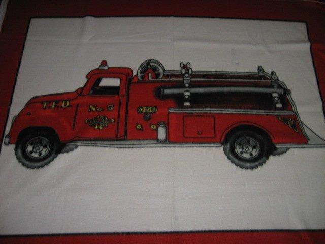 Fire Truck Vintage Red fleece blanket