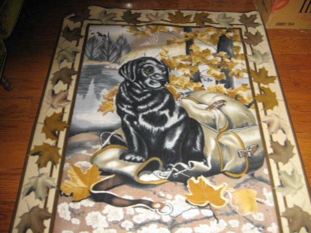 Black Labrador Dog Hunter fleece blanket panel