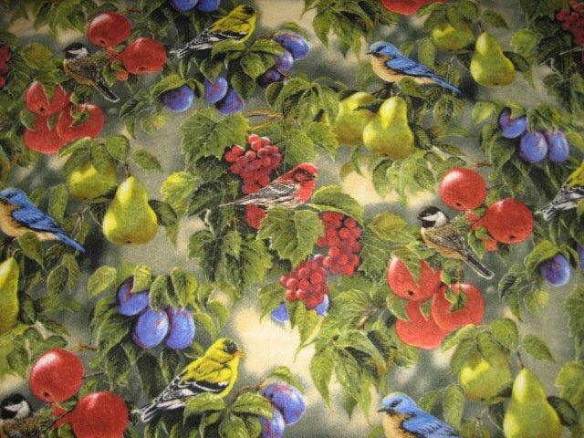 Bird birds and Grape Vines grapes  Bed Size Fleece Blanket large
