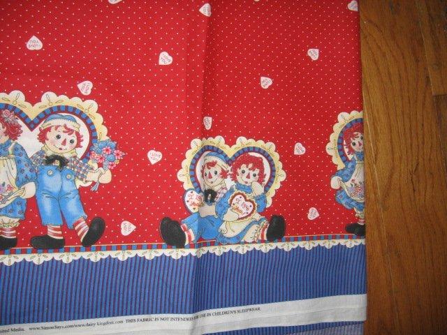 Raggedy Ann Andy  cotton fabric last large piece blue border