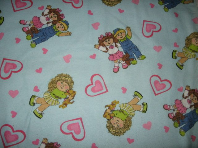 cabbage patch hearts boy and girl flannel fabric by the yard
