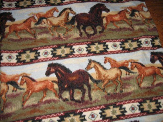 Southwest Rows Horses running  Fleece blanket