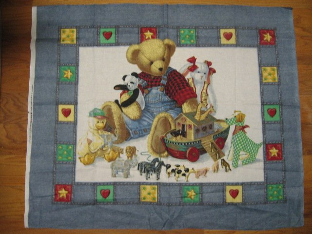 Image 0 of Noah's Ark Crib Quilt Fabric Panel to sew Blue Jean Teddy Bear and his toys