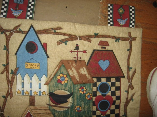 Bird House Quilted Wall Hanging Fabric Panel