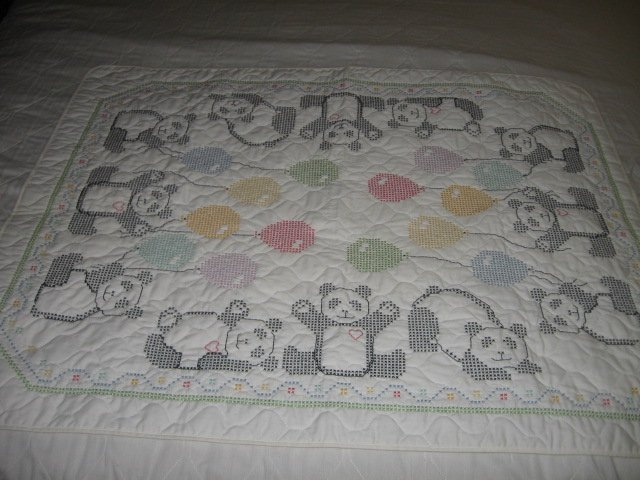 Bear Cat Balloons crib quilt Hand embroidered
