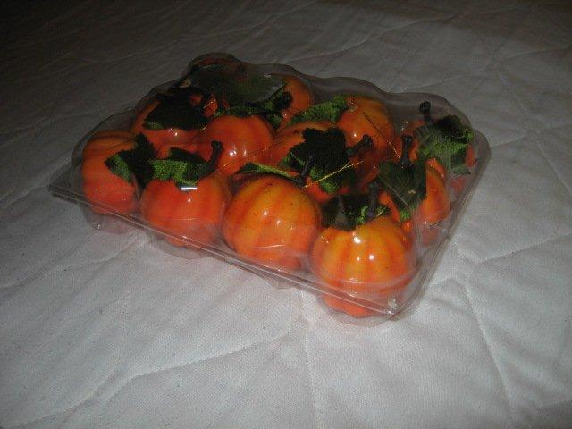 Halloween pumpkins small plastic decorative w/ holders new in box set of twelve