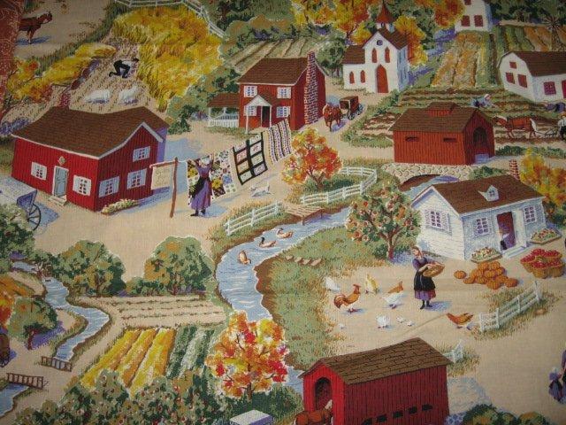 Amish village scene cotton fabric