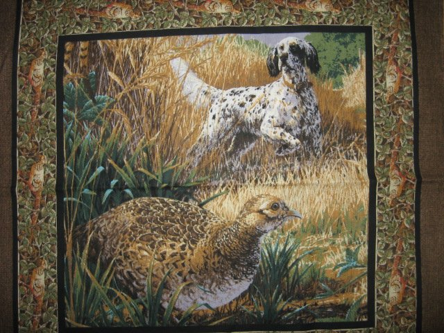 Pheasant Hunting dog pillow panels set off two