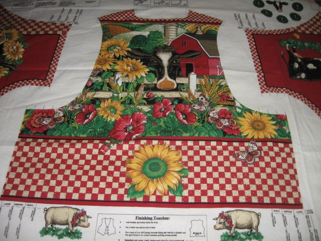 vest cotton fabric to sew cow sunflower American homestead