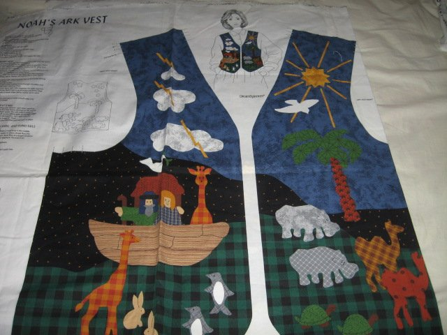 vest Noah's Ark cotton fabric to sew for kids six to18 to 20