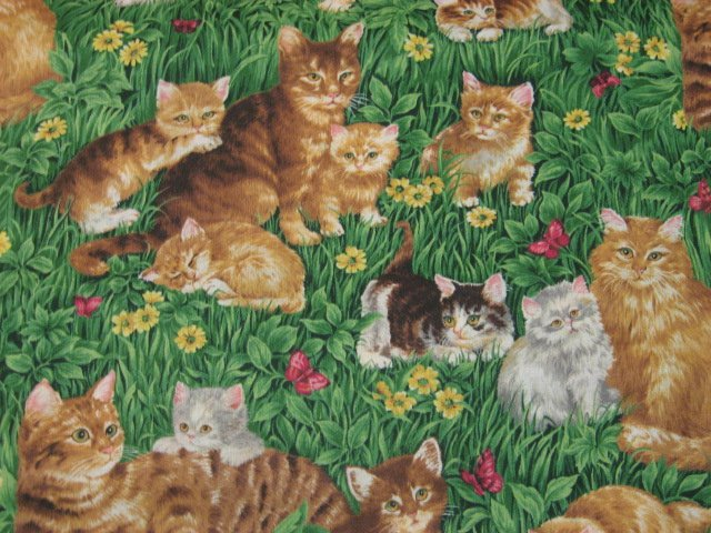 Cats Kittens Feline among grass flowers butterflies Cotton fabric by the yard