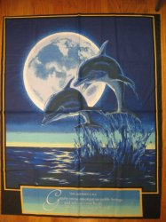 Thumbnail of Dolphin in the Ocean with moon and Saying Fabric Wall Panel to sew rare /