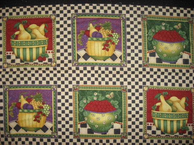 Debbie Mumm Plums Squash Grapes Strawberry Fruit Fabric pillow panel set of six