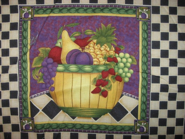 Image 1 of Debbie Mumm Plums Squash Grapes Strawberry Fruit Fabric pillow panel set of six