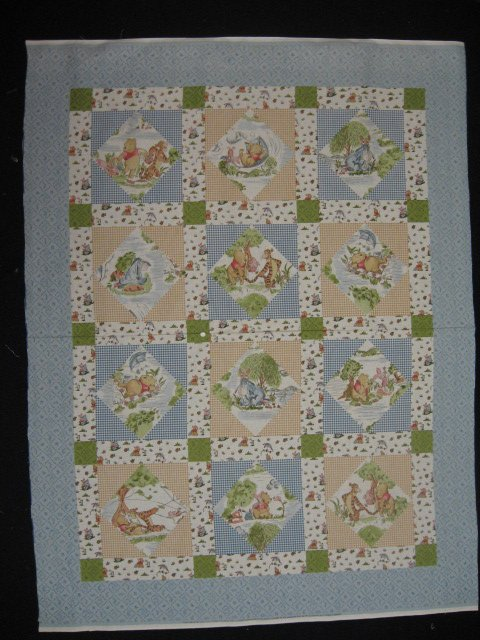 Image 1 of Winnie the Pooh Tigger piglet Eeyore Windy Day Crib Quilt Fabric Panel to sew