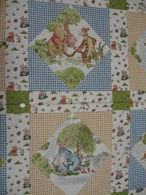Image 0 of Winnie the Pooh Tigger piglet Eeyore Windy Day Crib Quilt Fabric Panel to sew