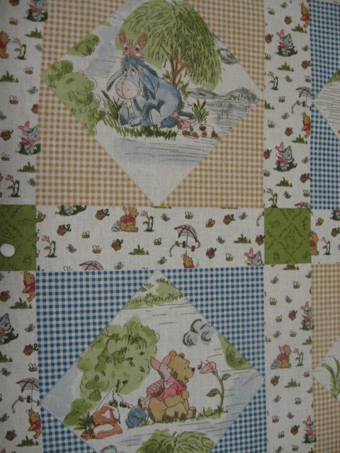 Image 2 of Winnie the Pooh Tigger piglet Eeyore Windy Day Crib Quilt Fabric Panel to sew