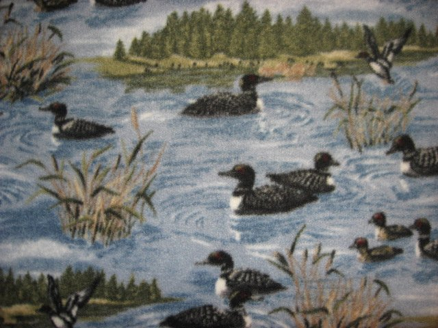 Loons on a Lake with Cattails Islands very rare Fleece fabric blanket