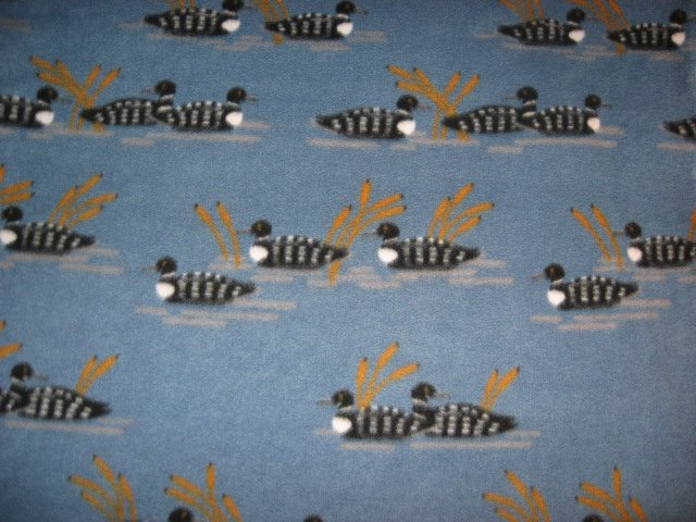 Loons birds on Lake Cattails  bed Size Fleece blanket 44 X 60