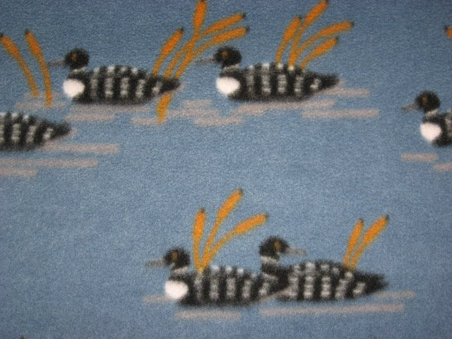 Image 1 of Loons birds on Lake Cattails  bed Size Fleece blanket 44 X 60